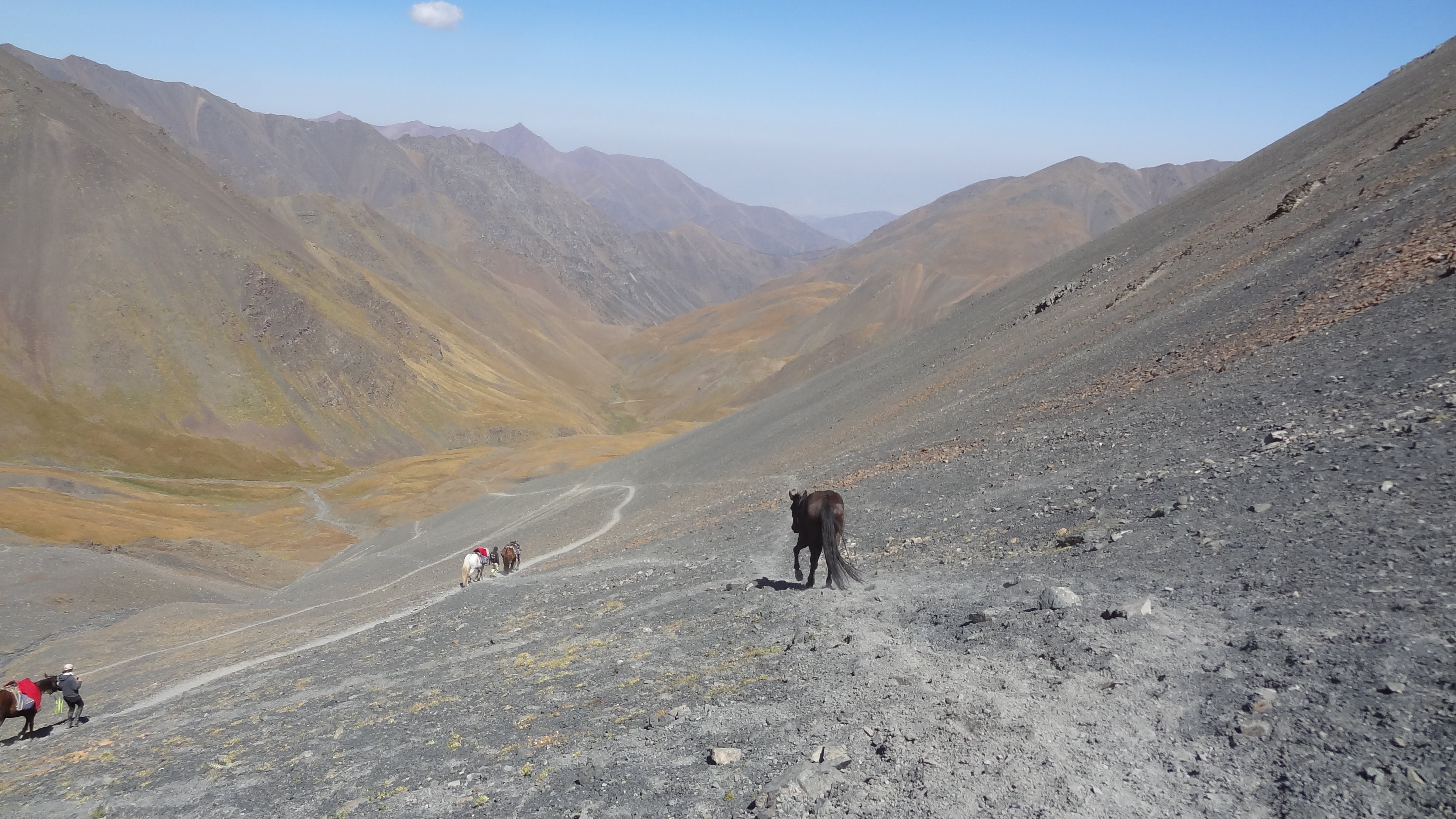riding in the steep mountains of kyrgyzstan