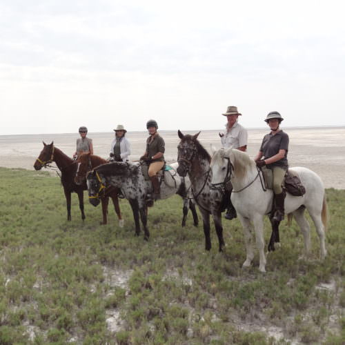 The Kalahari Riding Safari takes you into the Makgadikgadi salt pans of Botswana. Horses.