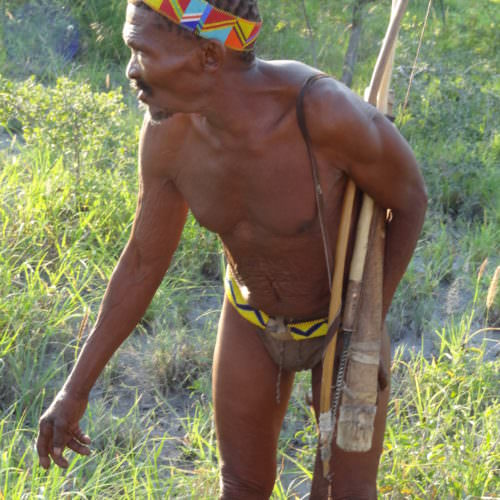 The Kalahari Riding Safari in the Makgadikgadi salt pans of Botswana. Local tribesman.