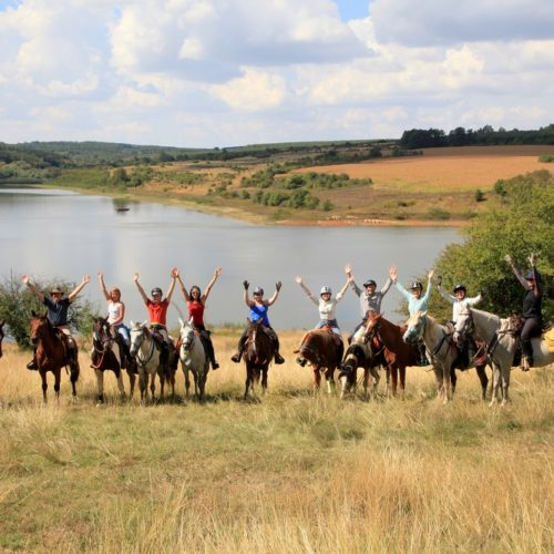 In The Saddle trail riding holidays in Bulgaria. Horses in the countryside. Happy riders