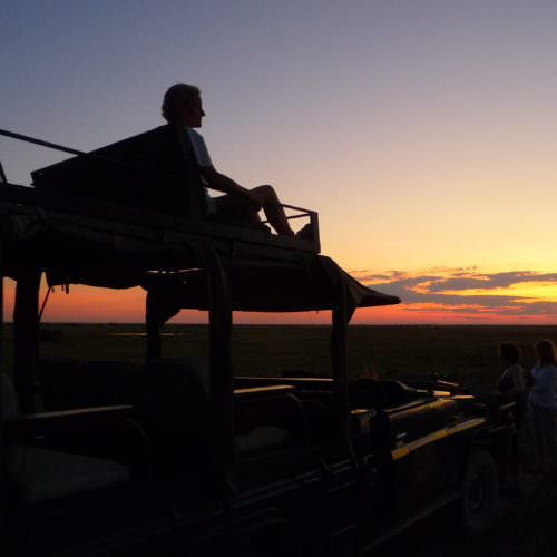 The Kalahari Riding Safari takes you into the Makgadikgadi salt pans of Botswana. Sunset.