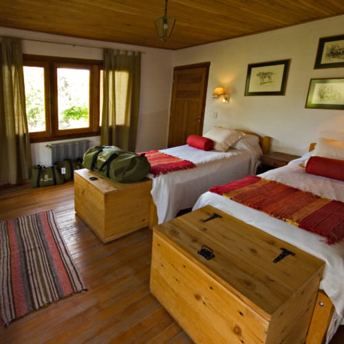 Twin bedroom at Estancia Huechahue. Riding Holidays in Argentina