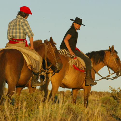 Sunset horse riding in Argentina.