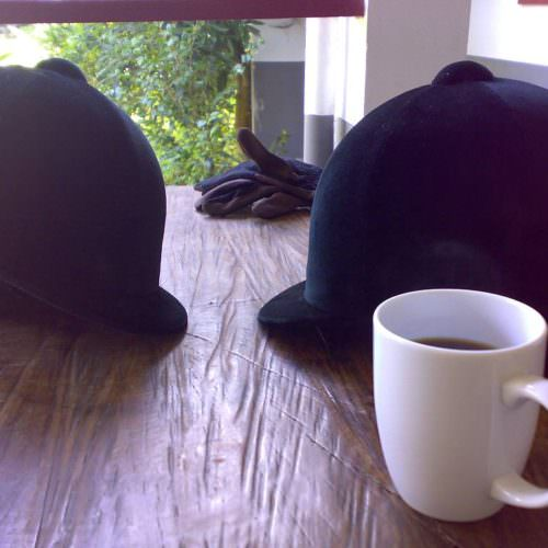 riding hats and coffee