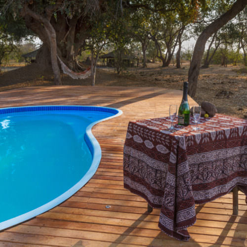 Tuli Trail mobile horseback safari holiday. Riding in Botswana. Bush camp swimming pool.