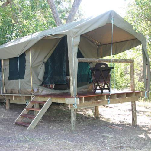 Tuli Trail mobile horseback safari holiday. Riding in Botswana. Bush camp tent.