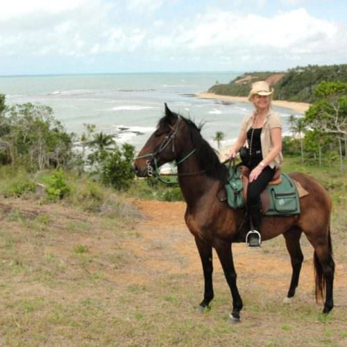 Riding Holidays in Brazil. Beach riding in Bahia. Horse and rider overlooking ocean.