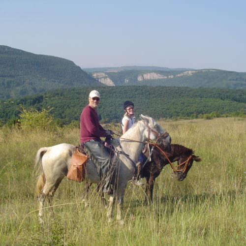In The Saddle trail riding holidays in Bulgaria. Horses in the countryside.