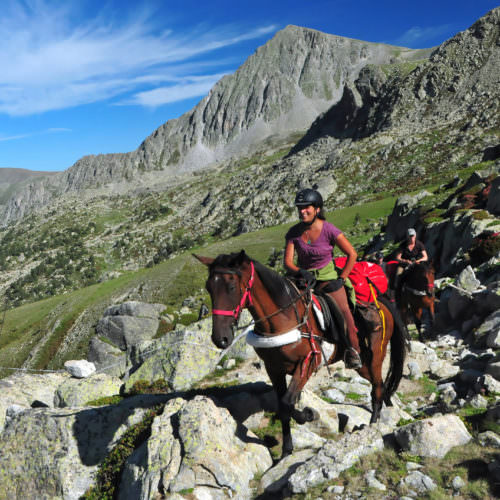 Adventurous trail riding holiday through the Pyrenees Mountains, Spain. Horses