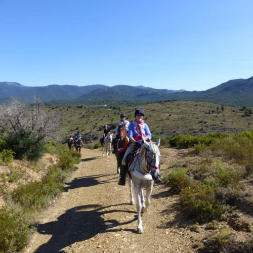 Adventurous trail riding holiday through the Pyrenees Mountains, Spain. Horses, spectacular views, blue skies.