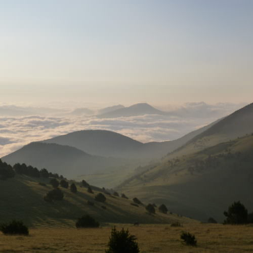 Adventurous trail riding holiday through Pyrenees Mountains, Spain. spectacular views at sunrise