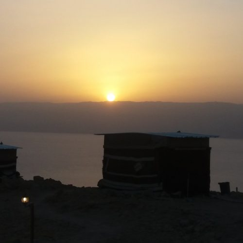 Israel Dead Sea sunset camp