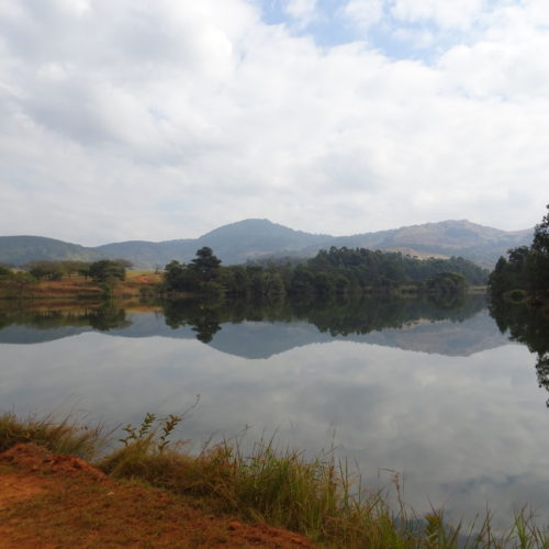 Riding past lakes in Swaziland