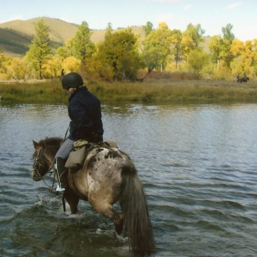 Mongolia riding river