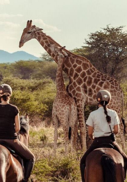 Riding safari at Kambaku Lodge, Namibia