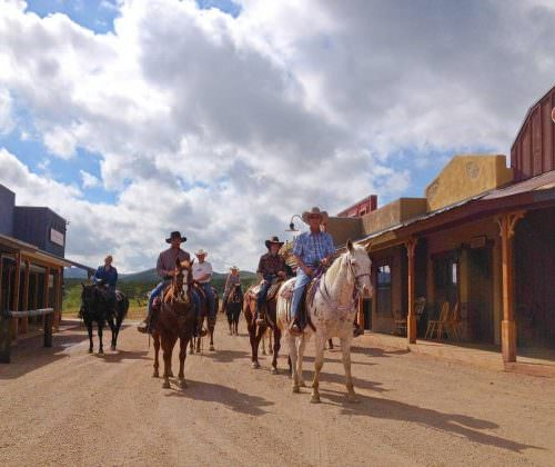 Riding through the Main Street of the Ranch. Arizona