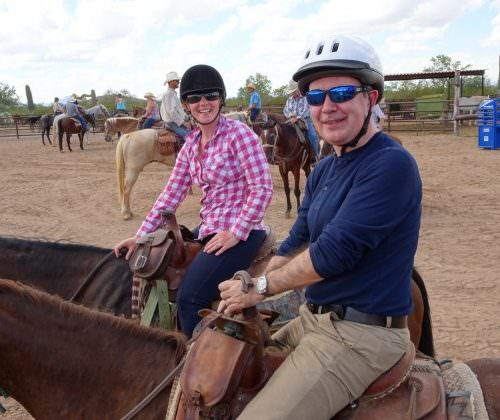 Jeremy and Sarita western riding with In The Saddle