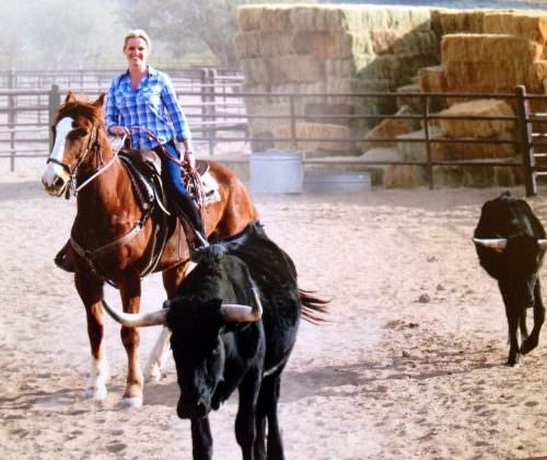 Guest - Linda learning some cowboy skills on her riding holiday in Arizona