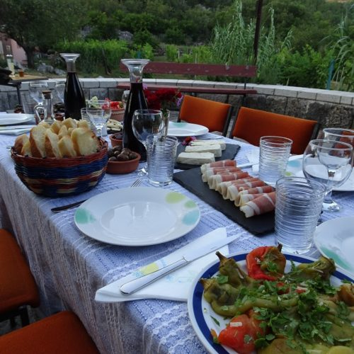 Evening supper at the farm in Montenegro