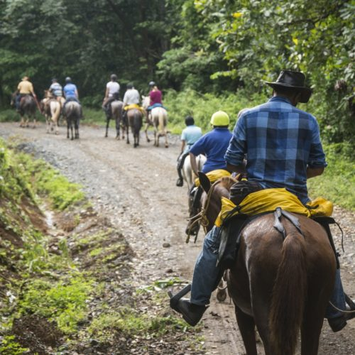 Wilderness ride in Costa Rica. Riding Holidays with In The Saddle. Horses and riders in the rainforest.