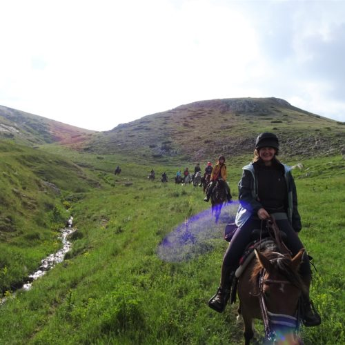 Riding horses along the streams in North Macedonia