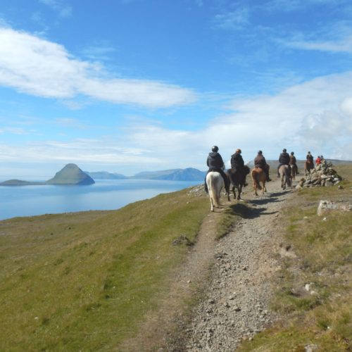 Riding back from the south of Streymoy with the islands of Koltur and Vagar in the distance.